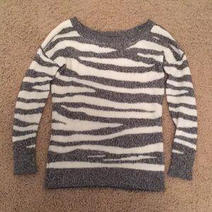 Gray and white zebra sweater